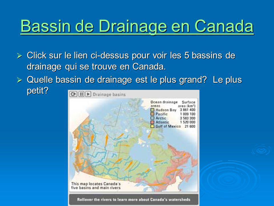 Bassin de Drainage en Canada Bassin de Drainage en Canada Click sur le lien ci-dessus pour voir les 5 bassins de drainage qui se trouve en Canada. Cli