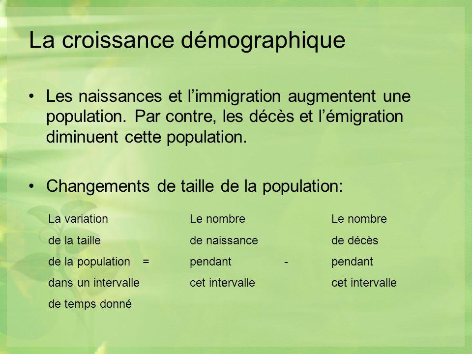 La croissance démographique Les naissances et limmigration augmentent une population.