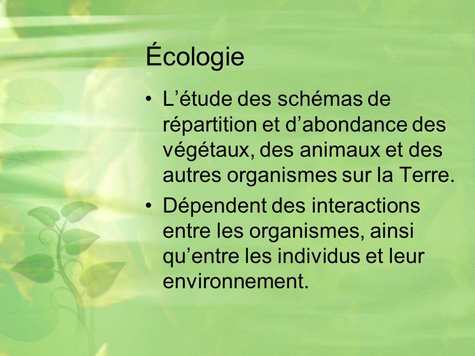 Écologie Létude des schémas de répartition et dabondance des végétaux, des animaux et des autres organismes sur la Terre.