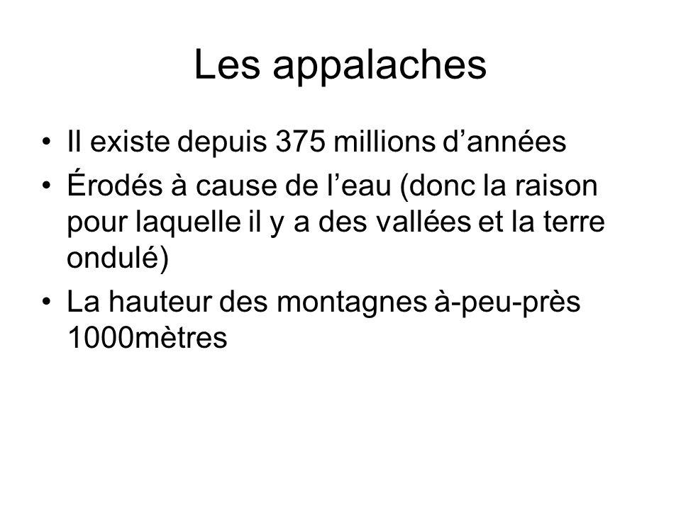 Il existe depuis 375 millions dannées Érodés à cause de leau (donc la raison pour laquelle il y a des vallées et la terre ondulé) La hauteur des monta