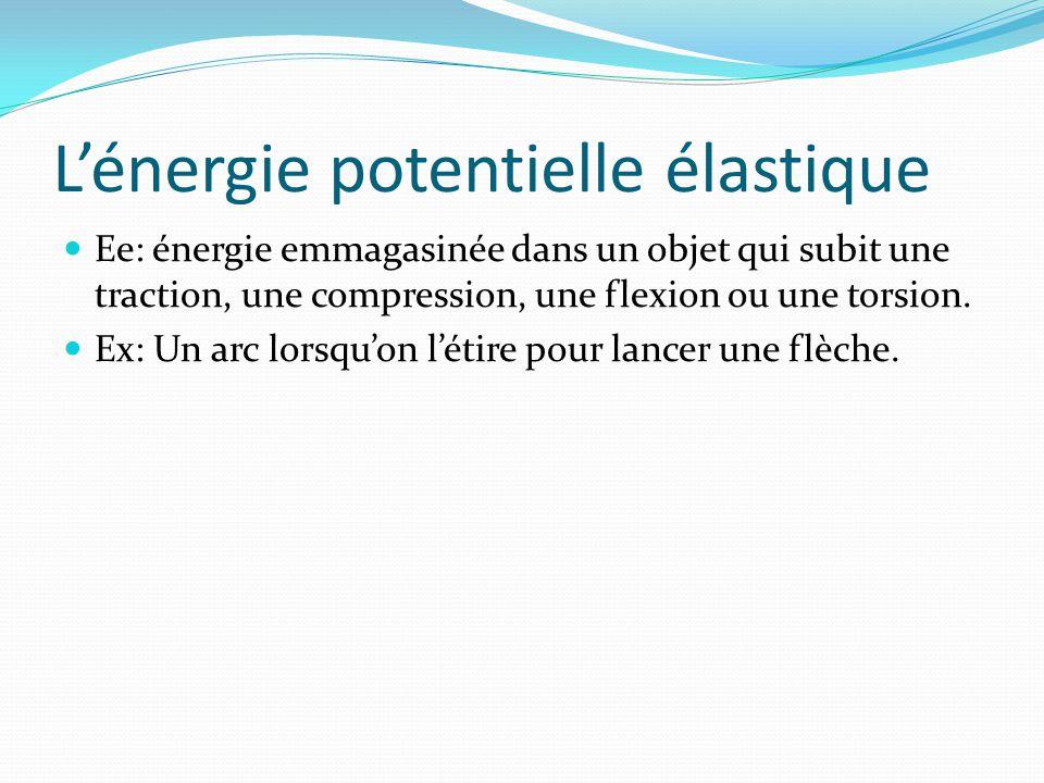 Lénergie potentielle élastique Ee: énergie emmagasinée dans un objet qui subit une traction, une compression, une flexion ou une torsion. Ex: Un arc l