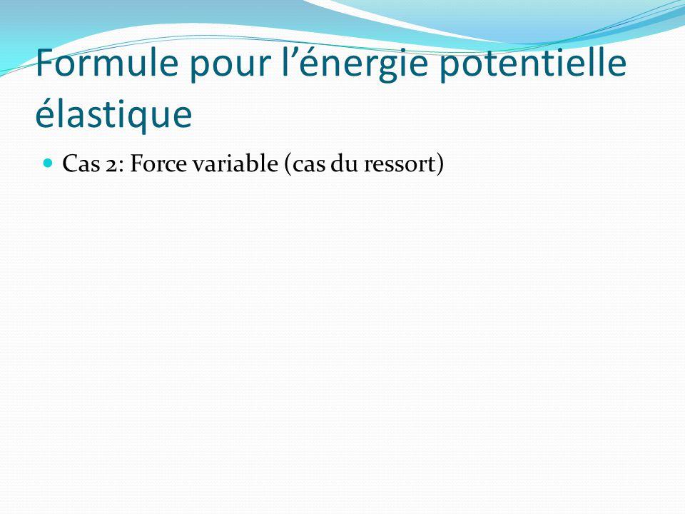 Formule pour lénergie potentielle élastique Cas 2: Force variable (cas du ressort)