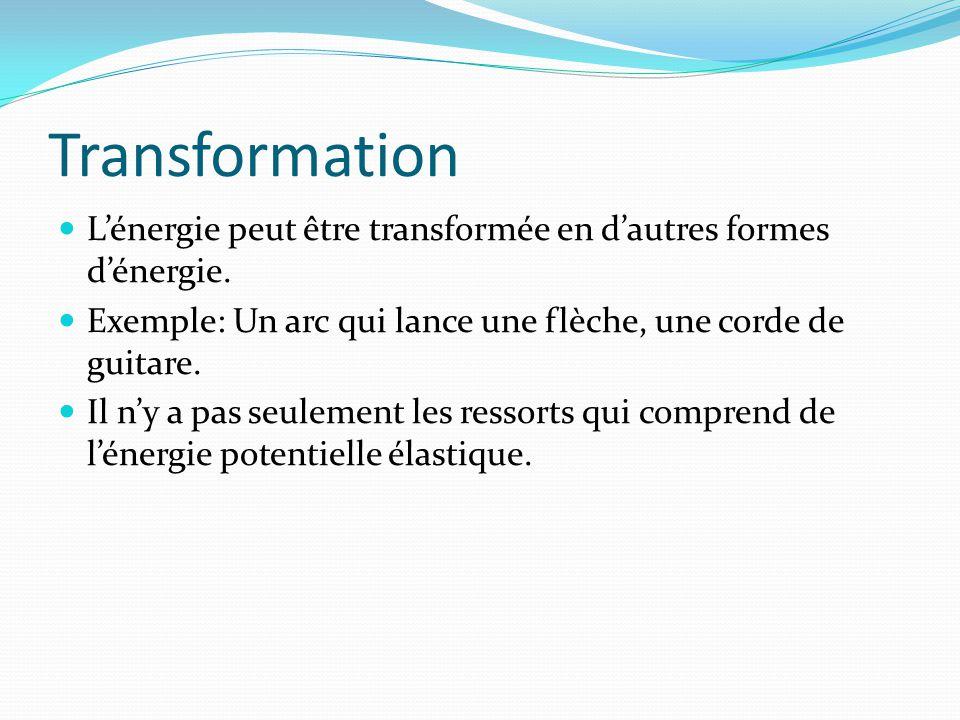 Transformation Lénergie peut être transformée en dautres formes dénergie. Exemple: Un arc qui lance une flèche, une corde de guitare. Il ny a pas seul