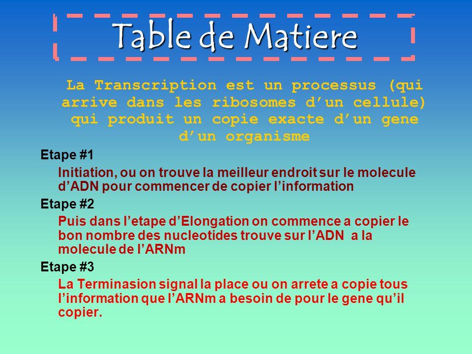 Table de Matiere La Transcription est un processus (qui arrive dans les ribosomes dun cellule) qui produit un copie exacte dun gene dun organisme Etap