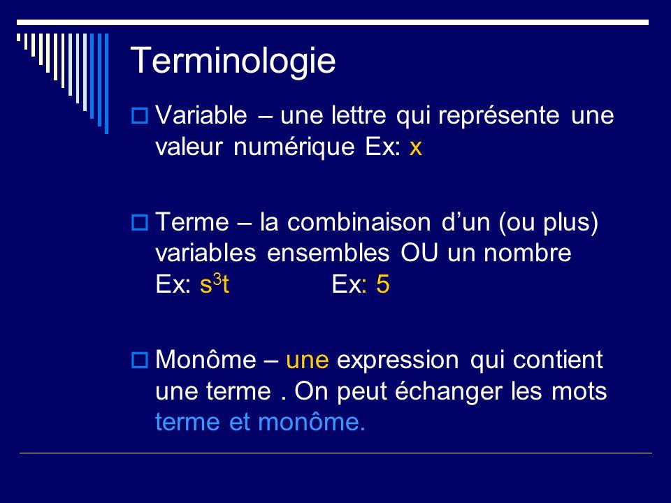 Terminologie Variable – une lettre qui représente une valeur numérique Ex: x Terme – la combinaison dun (ou plus) variables ensembles OU un nombre Ex: s 3 tEx: 5 Monôme – une expression qui contient une terme.