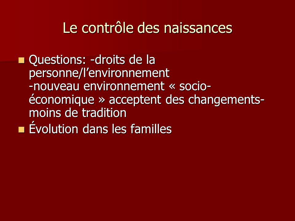 Le contrôle des naissances Questions: -droits de la personne/lenvironnement -nouveau environnement « socio- économique » acceptent des changements- mo