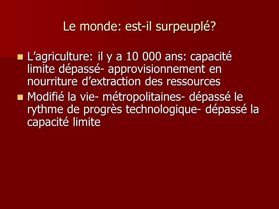 Le monde: est-il surpeuplé? Lagriculture: il y a 10 000 ans: capacité limite dépassé- approvisionnement en nourriture dextraction des ressources Lagri