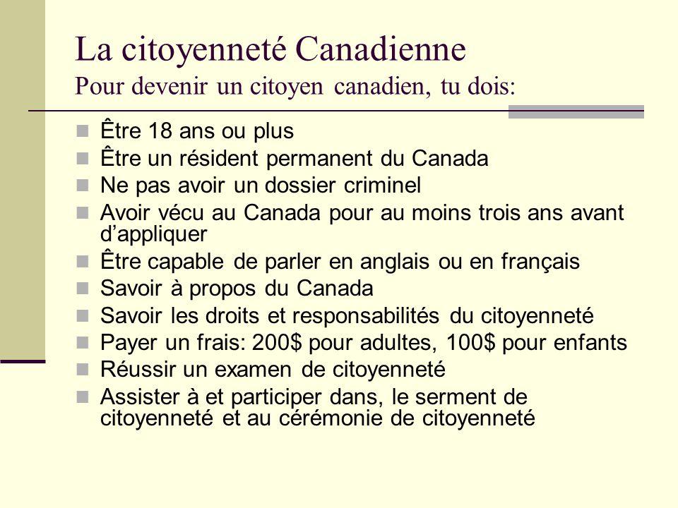 La citoyenneté Canadienne Pour devenir un citoyen canadien, tu dois: Être 18 ans ou plus Être un résident permanent du Canada Ne pas avoir un dossier