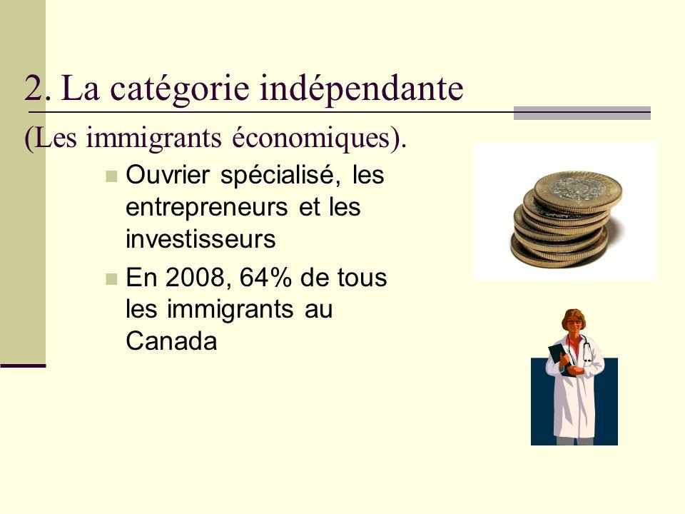 2. La catégorie indépendante (Les immigrants économiques). Ouvrier spécialisé, les entrepreneurs et les investisseurs En 2008, 64% de tous les immigra
