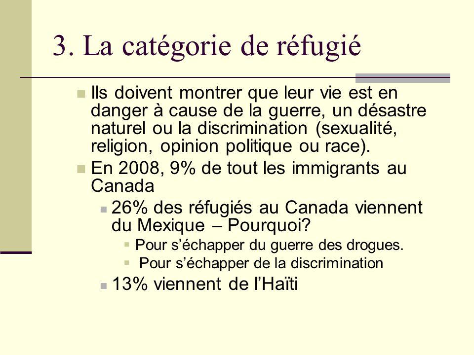 3. La catégorie de réfugié Ils doivent montrer que leur vie est en danger à cause de la guerre, un désastre naturel ou la discrimination (sexualité, r