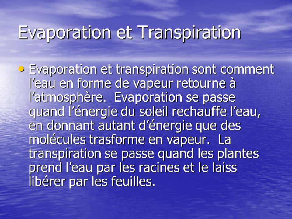 Evaporation et Transpiration Evaporation et transpiration sont comment leau en forme de vapeur retourne à latmosphère. Evaporation se passe quand léne