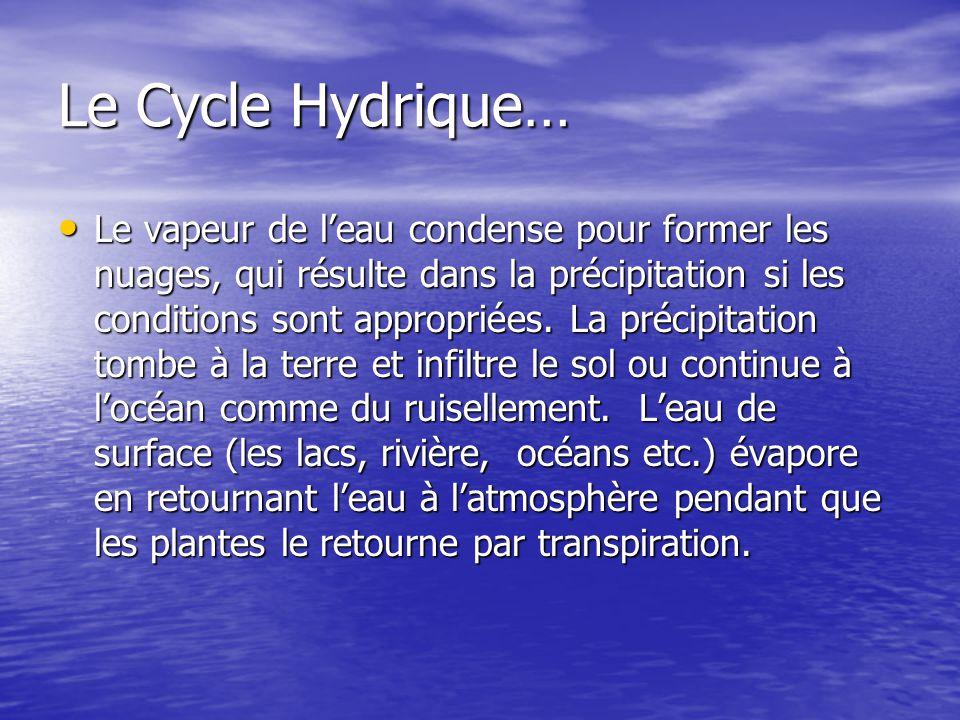 Le Cycle Hydrique… Le vapeur de leau condense pour former les nuages, qui résulte dans la précipitation si les conditions sont appropriées. La précipi