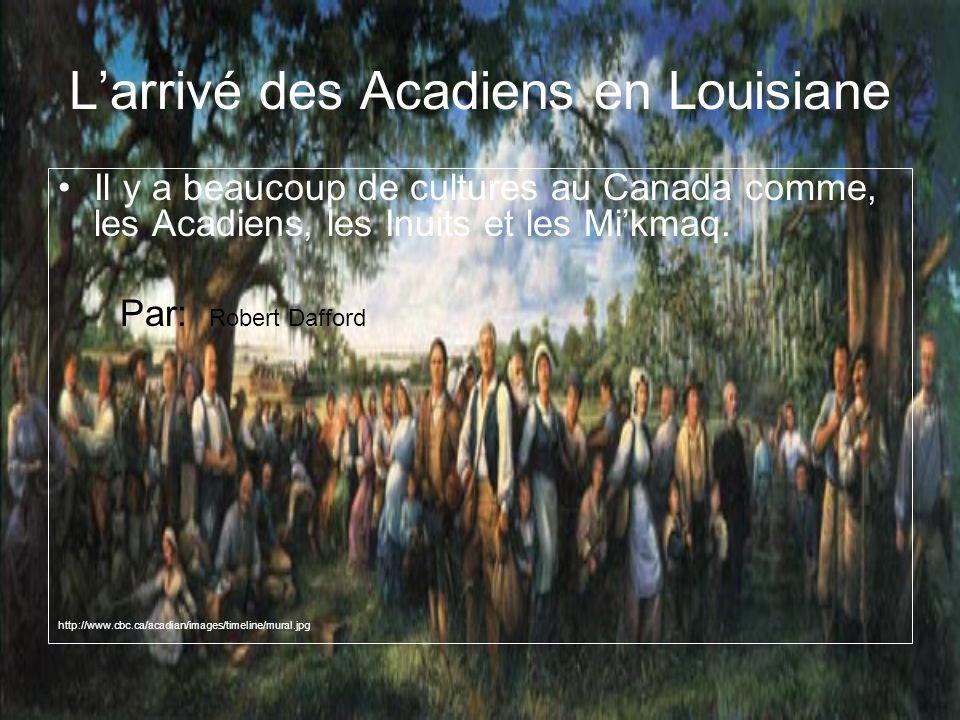 Larrivé des Acadiens en Louisiane Il y a beaucoup de cultures au Canada comme, les Acadiens, les Inuits et les Mikmaq.