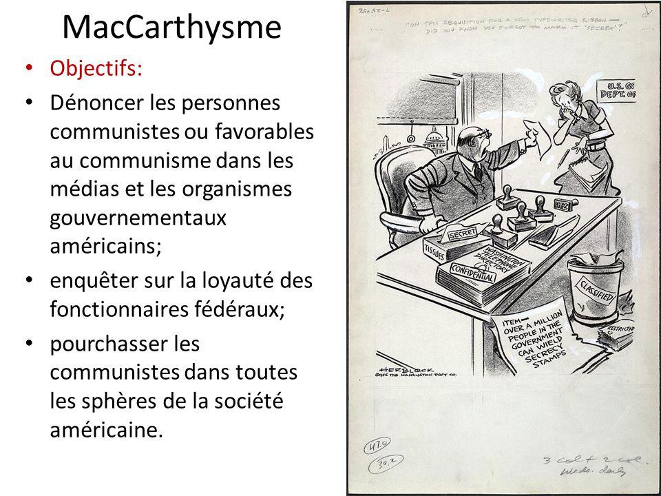 MacCarthysme Objectifs: Dénoncer les personnes communistes ou favorables au communisme dans les médias et les organismes gouvernementaux américains; e