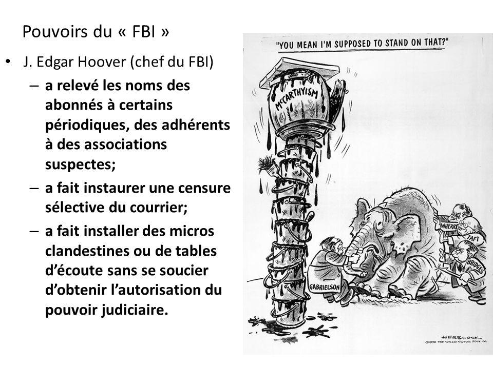 Pouvoirs du « FBI » J. Edgar Hoover (chef du FBI) – a relevé les noms des abonnés à certains périodiques, des adhérents à des associations suspectes;