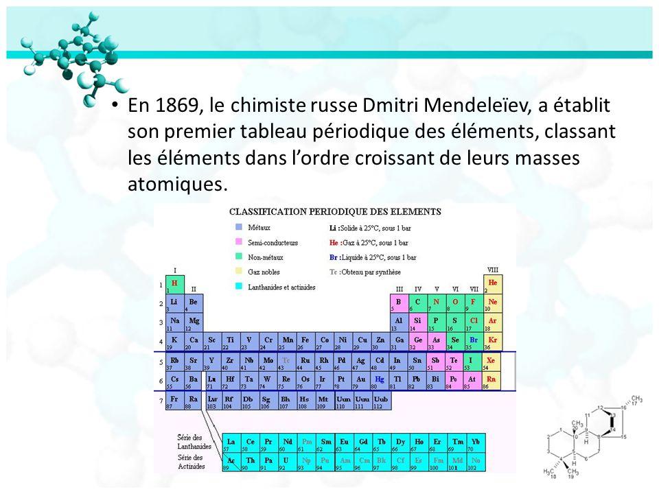 En 1869, le chimiste russe Dmitri Mendeleïev, a établit son premier tableau périodique des éléments, classant les éléments dans lordre croissant de le