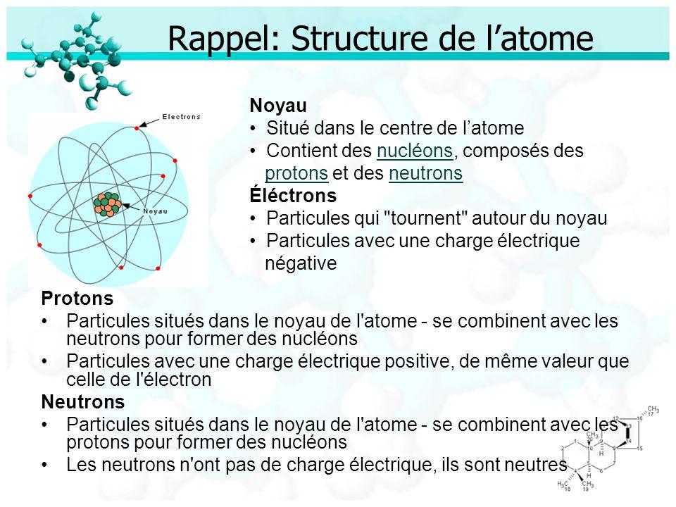 Rappel: Structure de latome Protons Particules situés dans le noyau de l'atome - se combinent avec les neutrons pour former des nucléons Particules av