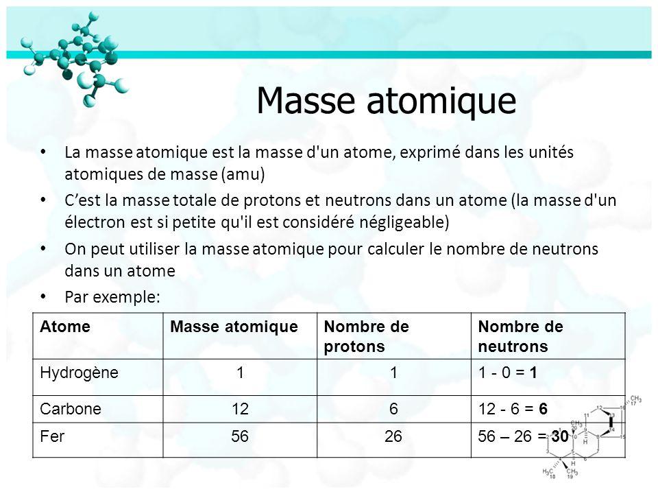 Masse atomique La masse atomique est la masse d'un atome, exprimé dans les unités atomiques de masse (amu) Cest la masse totale de protons et neutrons