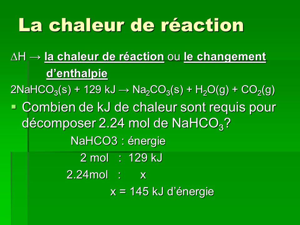 La chaleur de réaction H la chaleur de réaction ou le changement denthalpie denthalpie 2NaHCO 3 (s) + 129 kJ Na 2 CO 3 (s) + H 2 O(g) + CO 2 (g) Combien de kJ de chaleur sont requis pour décomposer 2.24 mol de NaHCO 3 .