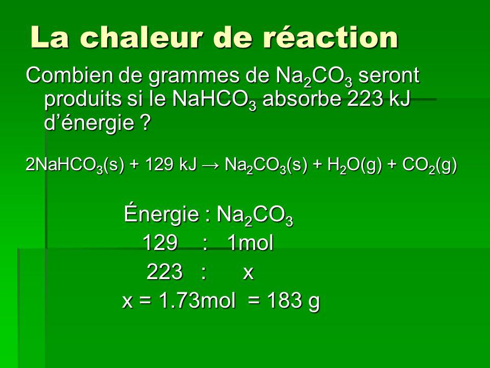La chaleur de réaction Combien de grammes de Na 2 CO 3 seront produits si le NaHCO 3 absorbe 223 kJ dénergie .