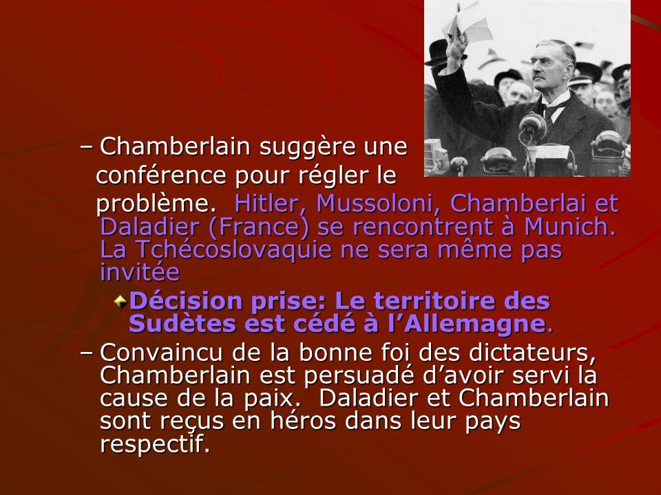 –Chamberlain suggère une conférence pour régler le conférence pour régler le problème. Hitler, Mussoloni, Chamberlai et Daladier (France) se rencontre