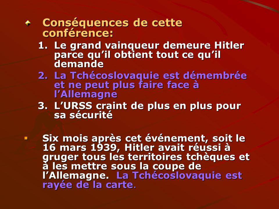 Conséquences de cette conférence: 1.Le grand vainqueur demeure Hitler parce quil obtient tout ce quil demande 2.La Tchécoslovaquie est démembrée et ne