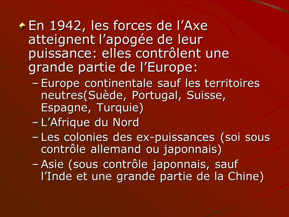En 1942, les forces de lAxe atteignent lapogée de leur puissance: elles contrôlent une grande partie de lEurope: –Europe continentale sauf les territo