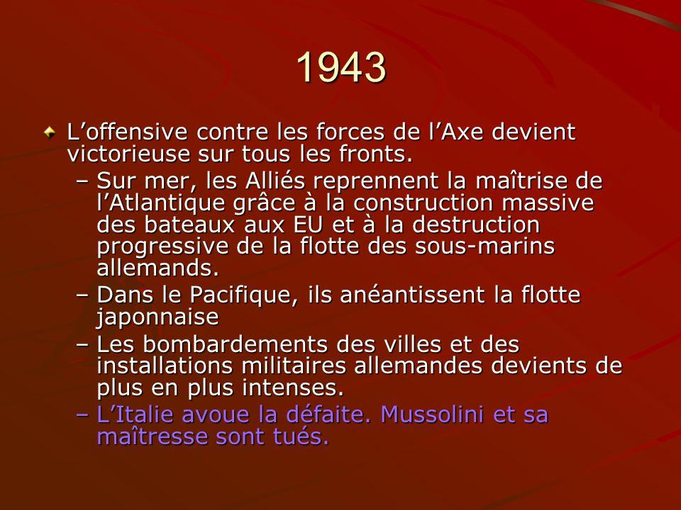 1943 Loffensive contre les forces de lAxe devient victorieuse sur tous les fronts. –Sur mer, les Alliés reprennent la maîtrise de lAtlantique grâce à