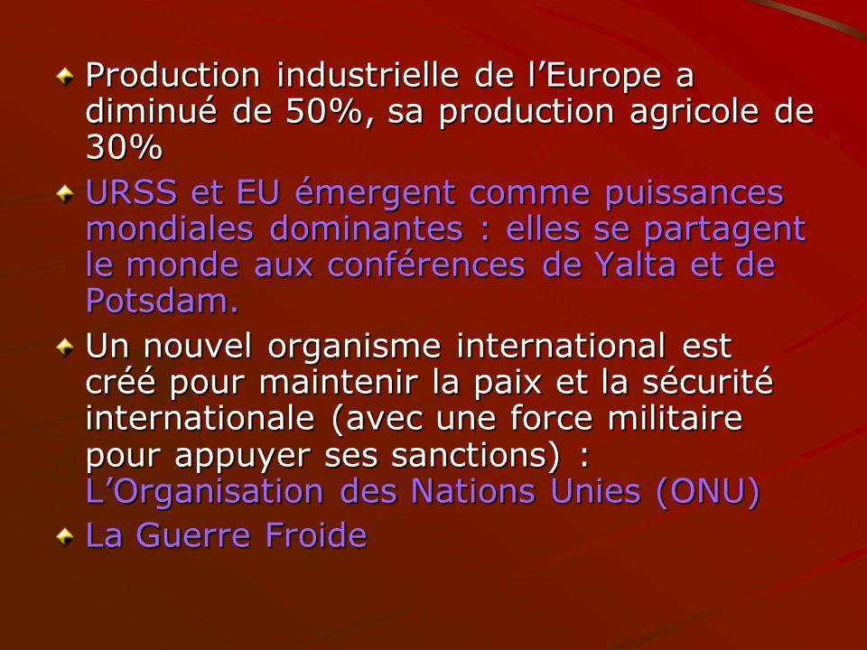 Production industrielle de lEurope a diminué de 50%, sa production agricole de 30% URSS et EU émergent comme puissances mondiales dominantes : elles s