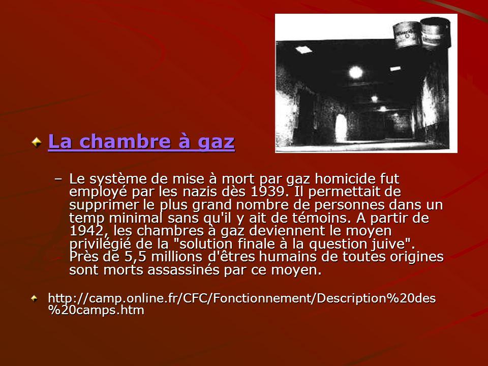 La chambre à gaz –Le système de mise à mort par gaz homicide fut employé par les nazis dès 1939. Il permettait de supprimer le plus grand nombre de pe