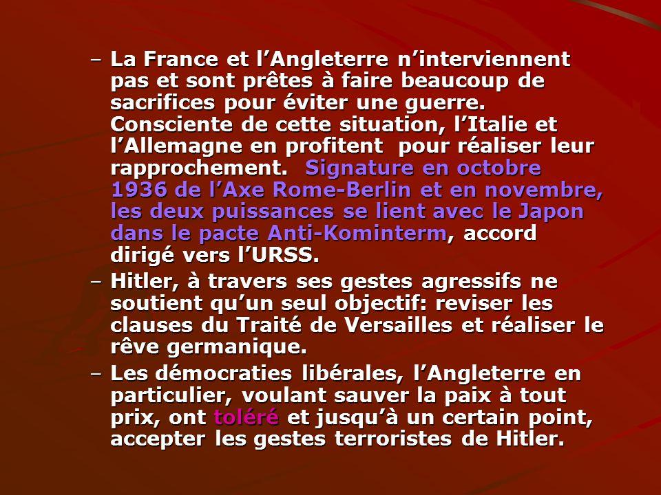 –La France et lAngleterre ninterviennent pas et sont prêtes à faire beaucoup de sacrifices pour éviter une guerre. Consciente de cette situation, lIta