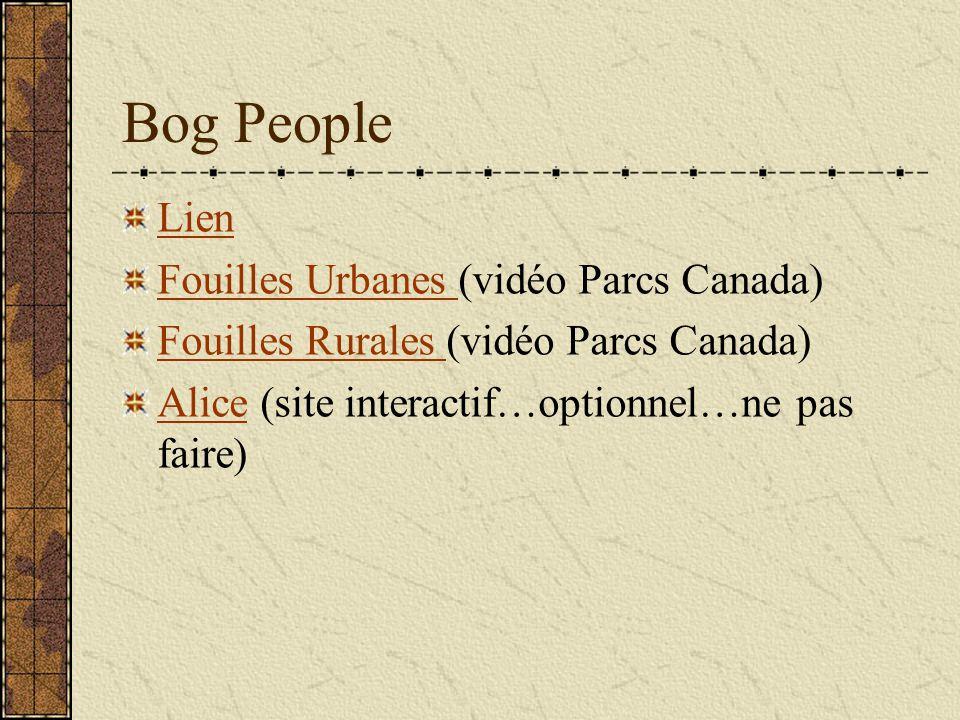 Bog People Lien Fouilles Urbanes Fouilles Urbanes (vidéo Parcs Canada) Fouilles Rurales Fouilles Rurales (vidéo Parcs Canada) AliceAlice (site interac