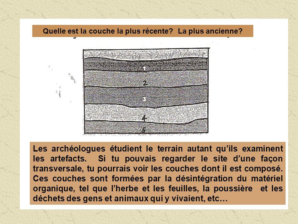 Quelle est la couche la plus récente? La plus ancienne? Les archéologues étudient le terrain autant quils examinent les artefacts. Si tu pouvais regar