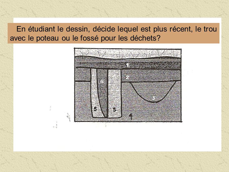 En étudiant le dessin, décide lequel est plus récent, le trou avec le poteau ou le fossé pour les déchets?