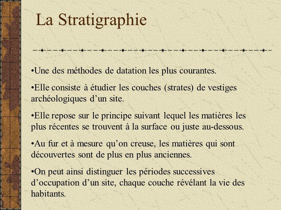 Une des méthodes de datation les plus courantes. Elle consiste à étudier les couches (strates) de vestiges archéologiques dun site. Elle repose sur le