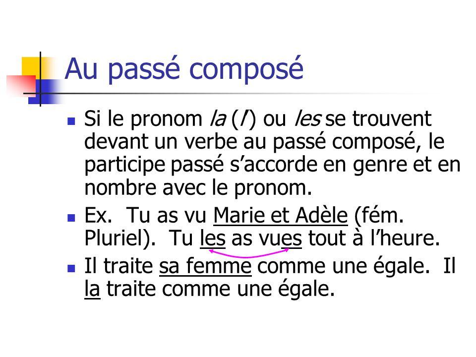 Au passé composé Le pronom objet direct est placé devant le verbe auxiliaire.