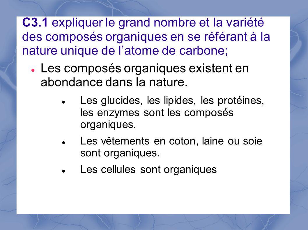 C3.1 expliquer le grand nombre et la variété des composés organiques en se référant à la nature unique de latome de carbone; Les composés organiques existent en abondance dans la nature.