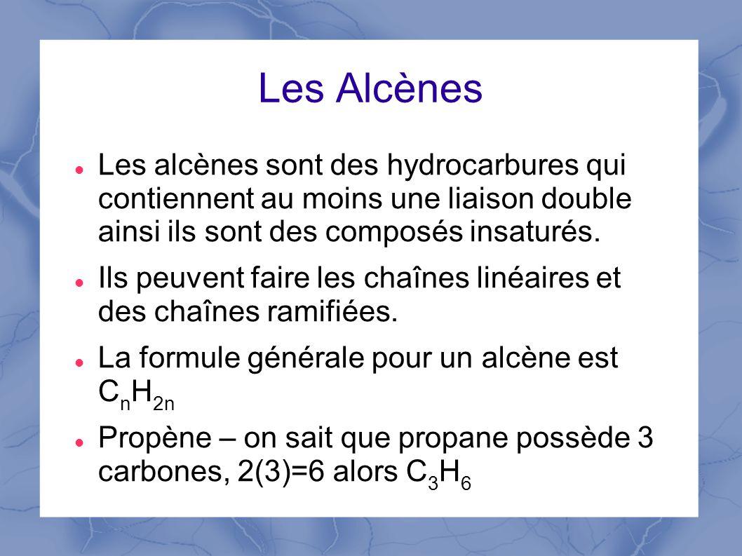 Les Alcènes Les alcènes sont des hydrocarbures qui contiennent au moins une liaison double ainsi ils sont des composés insaturés.