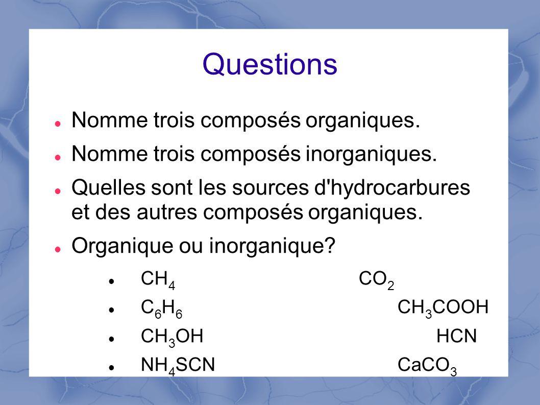 Questions Nomme trois composés organiques.Nomme trois composés inorganiques.