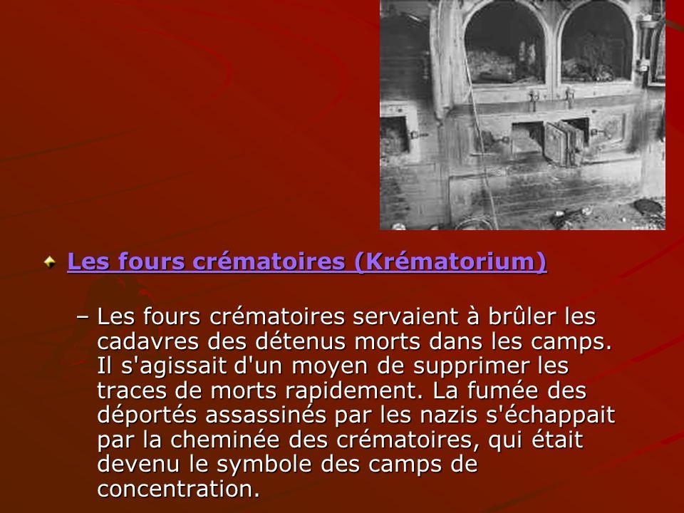 Les fours crématoires (Krématorium) –Les fours crématoires servaient à brûler les cadavres des détenus morts dans les camps. Il s'agissait d'un moyen