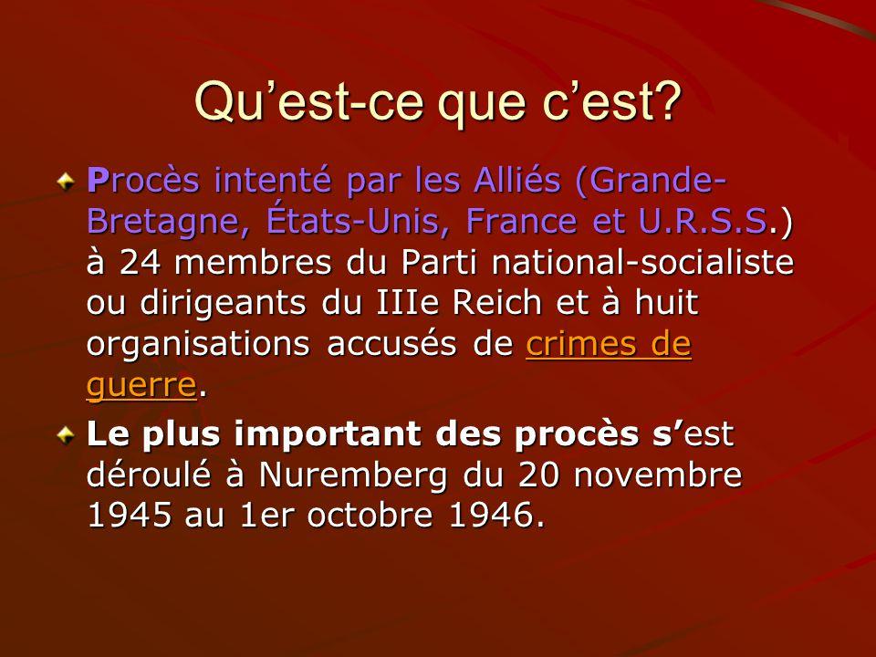 Quest-ce que cest? Procès intenté par les Alliés (Grande- Bretagne, États-Unis, France et U.R.S.S.) à 24 membres du Parti national-socialiste ou dirig