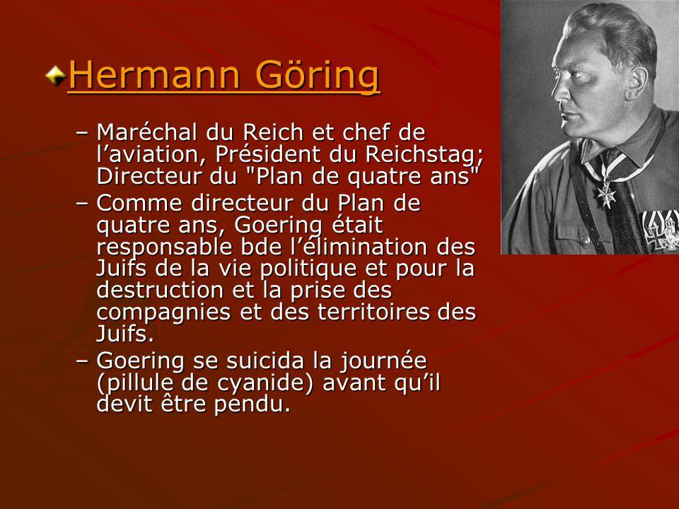 Hermann Göring Hermann Göring –Maréchal du Reich et chef de laviation, Président du Reichstag; Directeur du