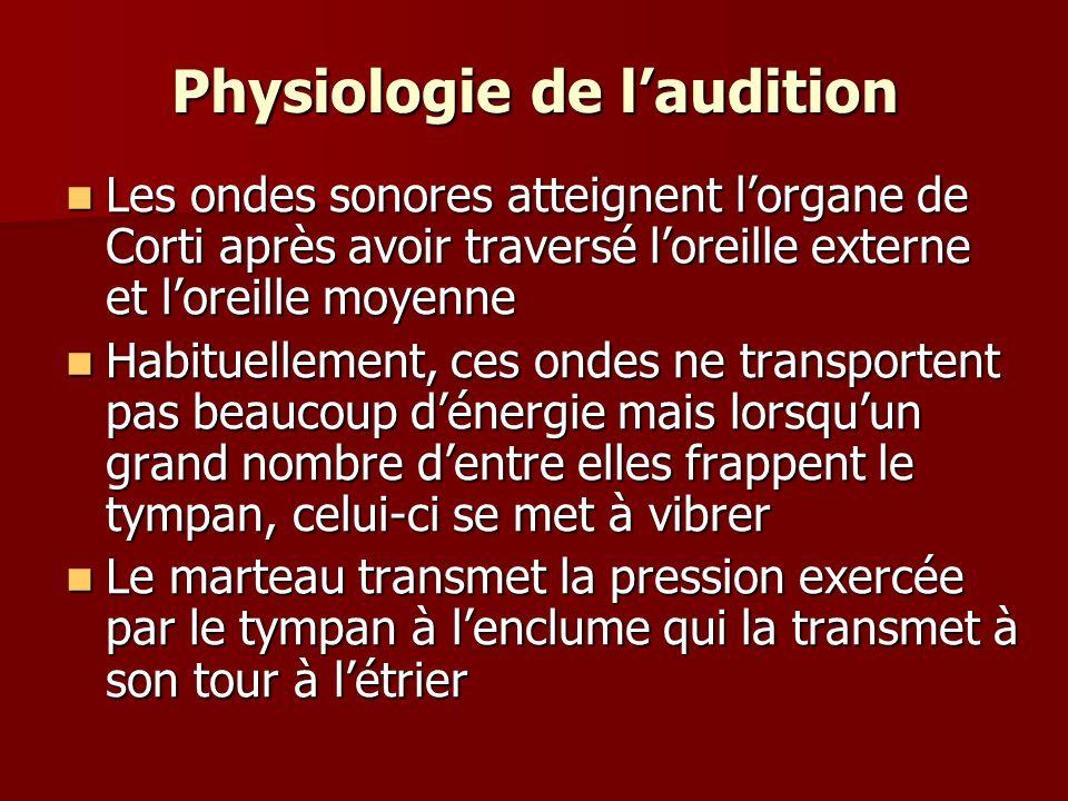 Physiologie de laudition Les ondes sonores atteignent lorgane de Corti après avoir traversé loreille externe et loreille moyenne Les ondes sonores att