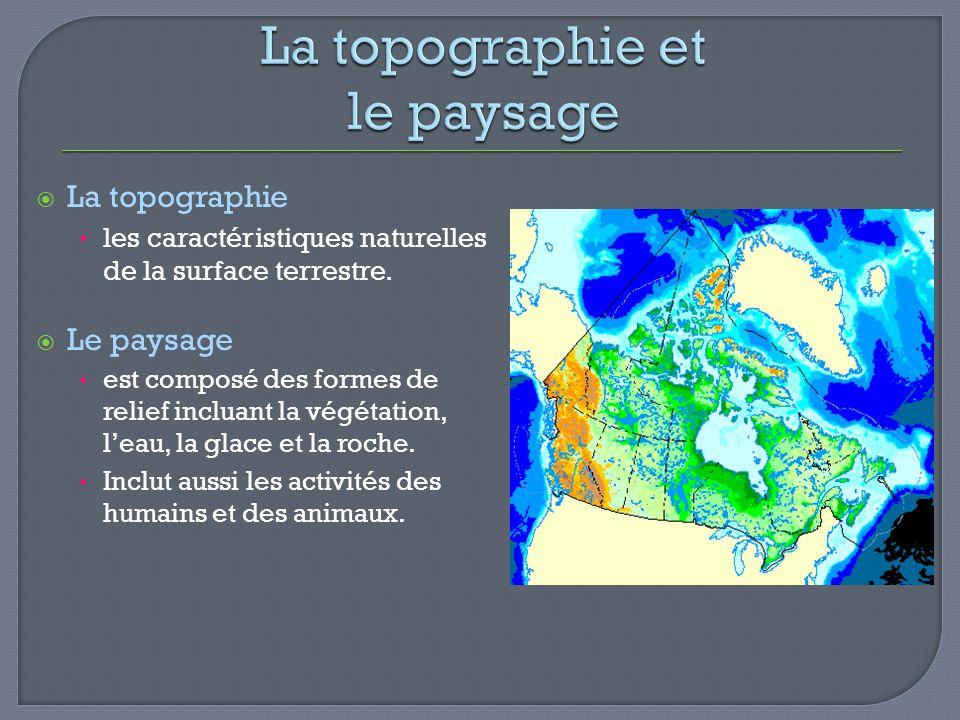 La topographie les caractéristiques naturelles de la surface terrestre. Le paysage est composé des formes de relief incluant la végétation, leau, la g