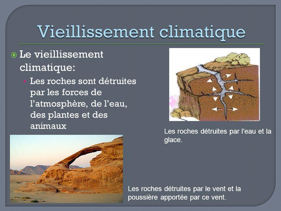 Le vieillissement climatique: Les roches sont détruites par les forces de latmosphère, de leau, des plantes et des animaux Les roches détruites par le
