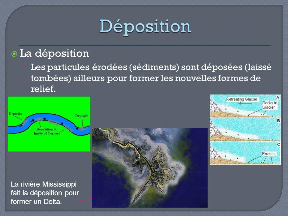 La déposition Les particules érodées (sédiments) sont déposées (laissé tombées) ailleurs pour former les nouvelles formes de relief. La rivière Missis