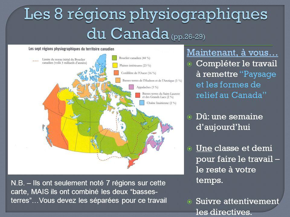Maintenant, à vous… Compléter le travail à remettre Paysage et les formes de relief au Canada Dû: une semaine daujourdhui Une classe et demi pour fair