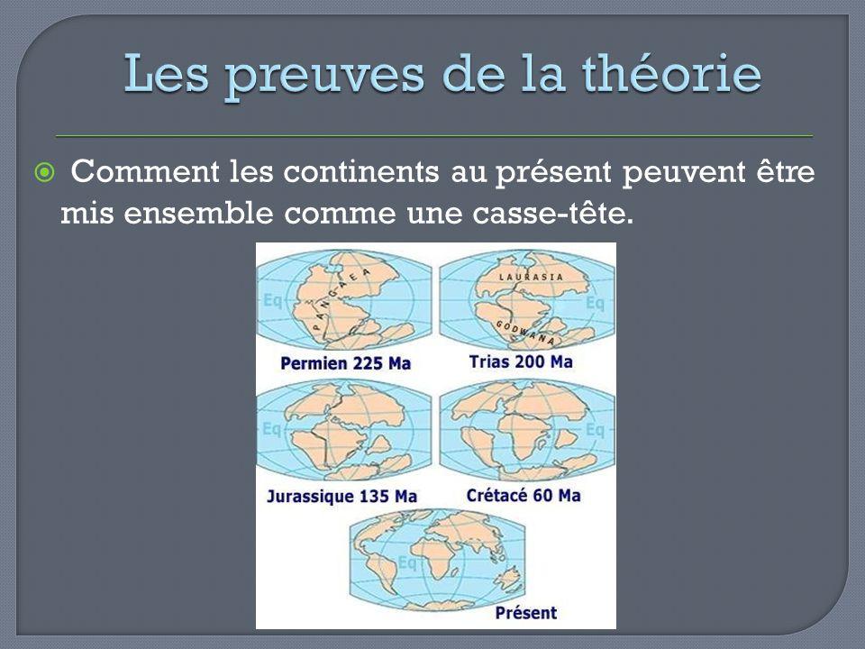 Comment les continents au présent peuvent être mis ensemble comme une casse-tête.