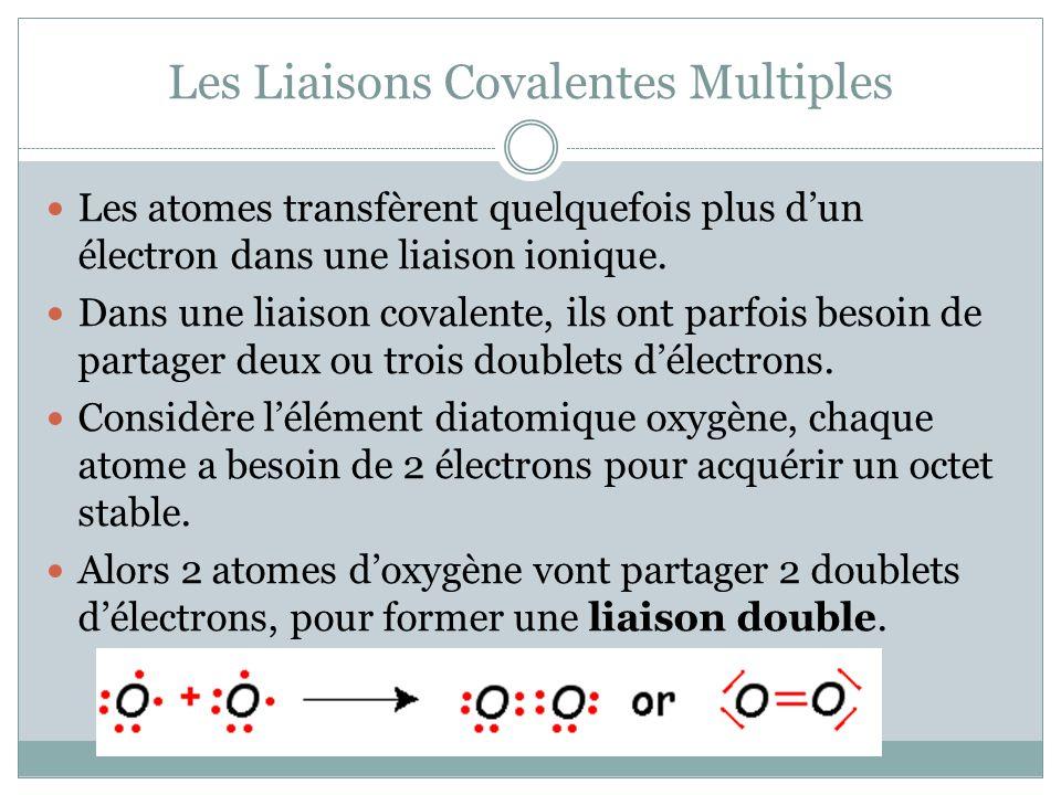 Les Liaisons Covalentes Multiples Les atomes transfèrent quelquefois plus dun électron dans une liaison ionique. Dans une liaison covalente, ils ont p