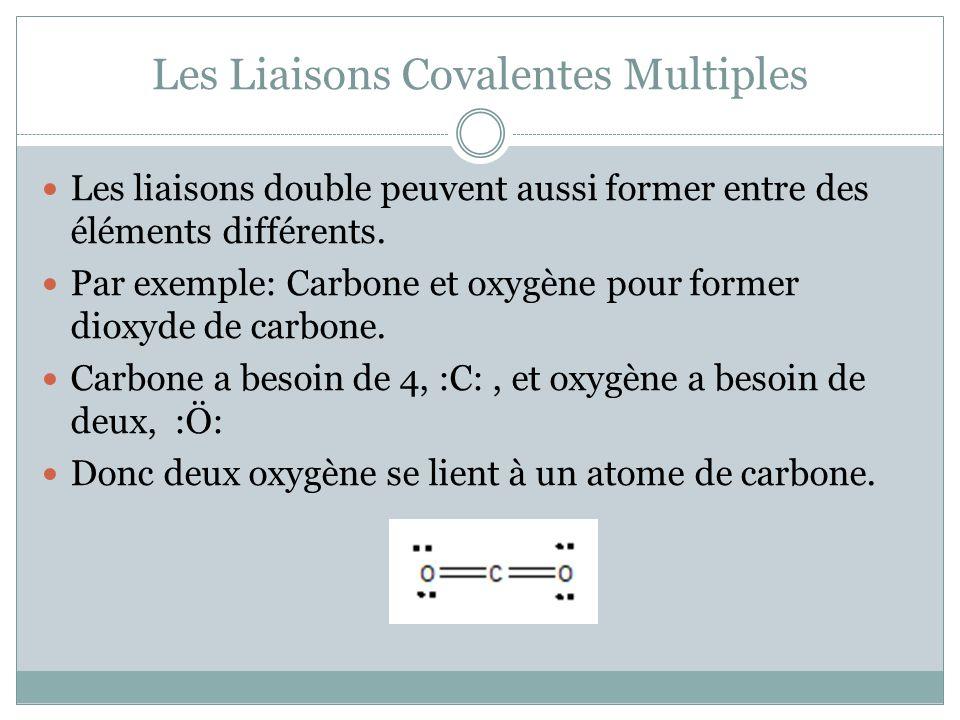 Les Liaisons Covalentes Multiples Les liaisons double peuvent aussi former entre des éléments différents. Par exemple: Carbone et oxygène pour former